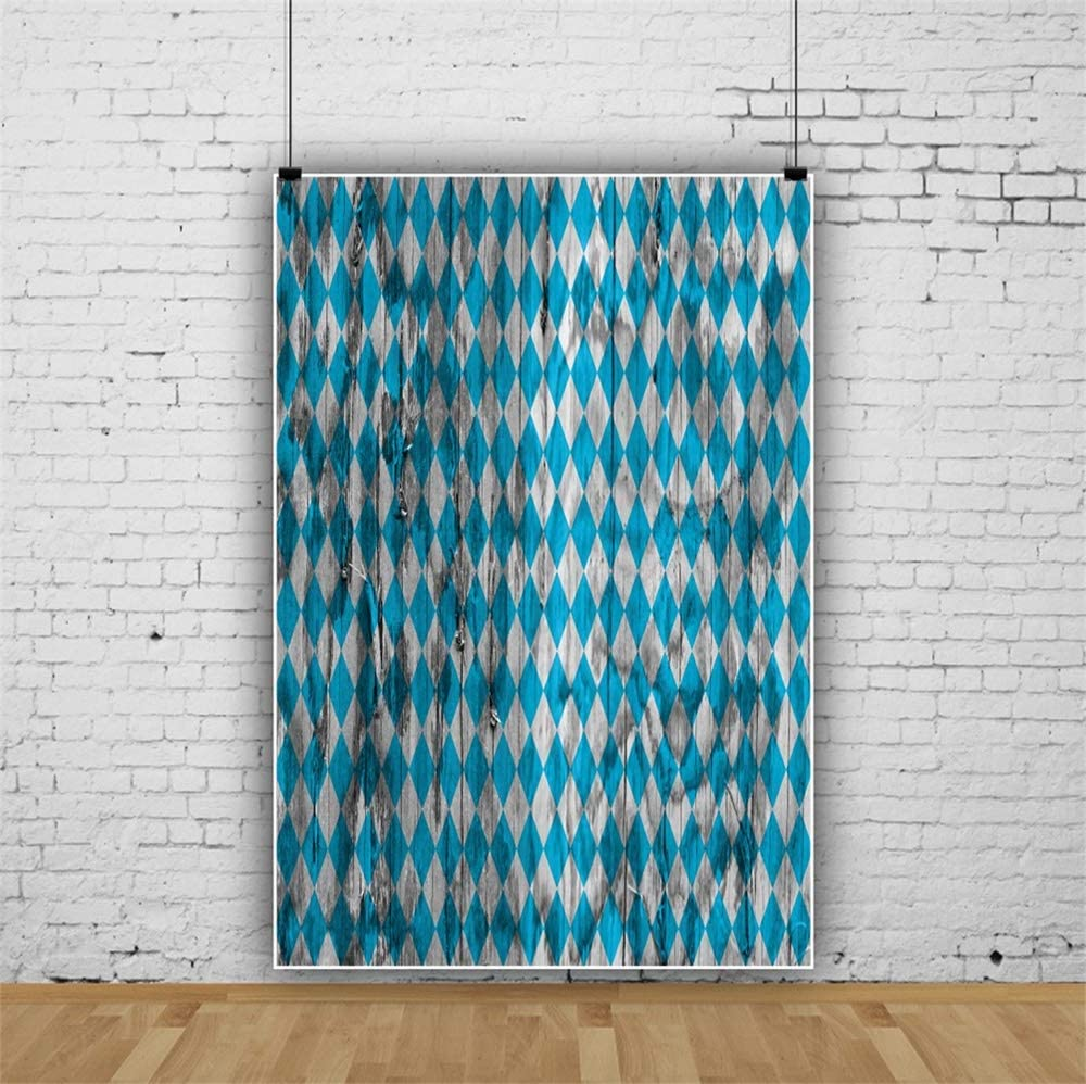 Leowefowa Retro Oktoberfest Backdrop for Photography 8x10ft Bavarian Traditional Blue and Rhombus Pattern Rustic Old Wood Plank Vinyl Background Beerfest Carnival Party Banner Photo Booth Wallpaper