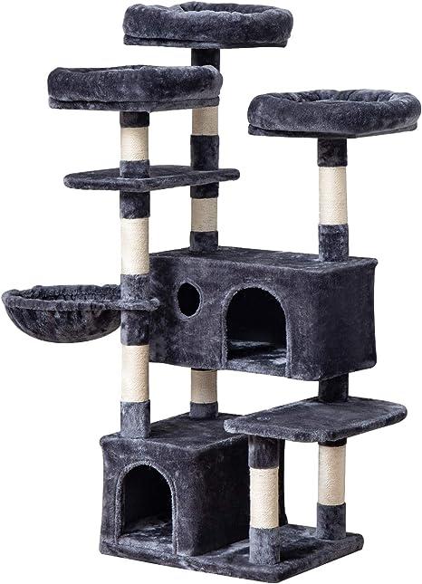 IBUYKE Árbol para Gato 143cm Torre de Escalada de Varios Niveles con 3 Plataformas, 1 Cesta Flotante, 2 Caseta para Gatos, Columnas Recubiertas de ...