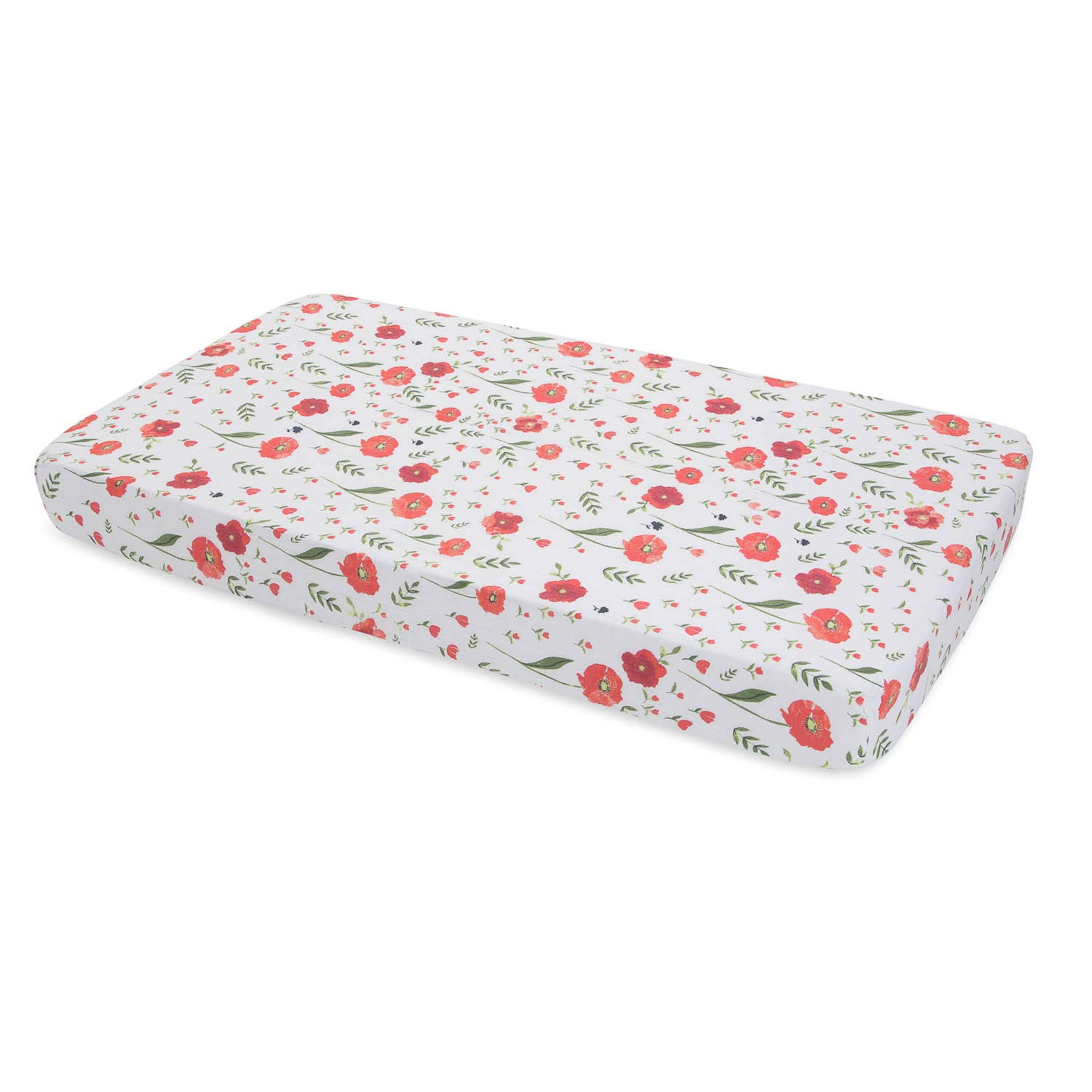 Little Unicorn Cotton Muslin Fitted Sheet - Summer Poppy by Little Unicorn