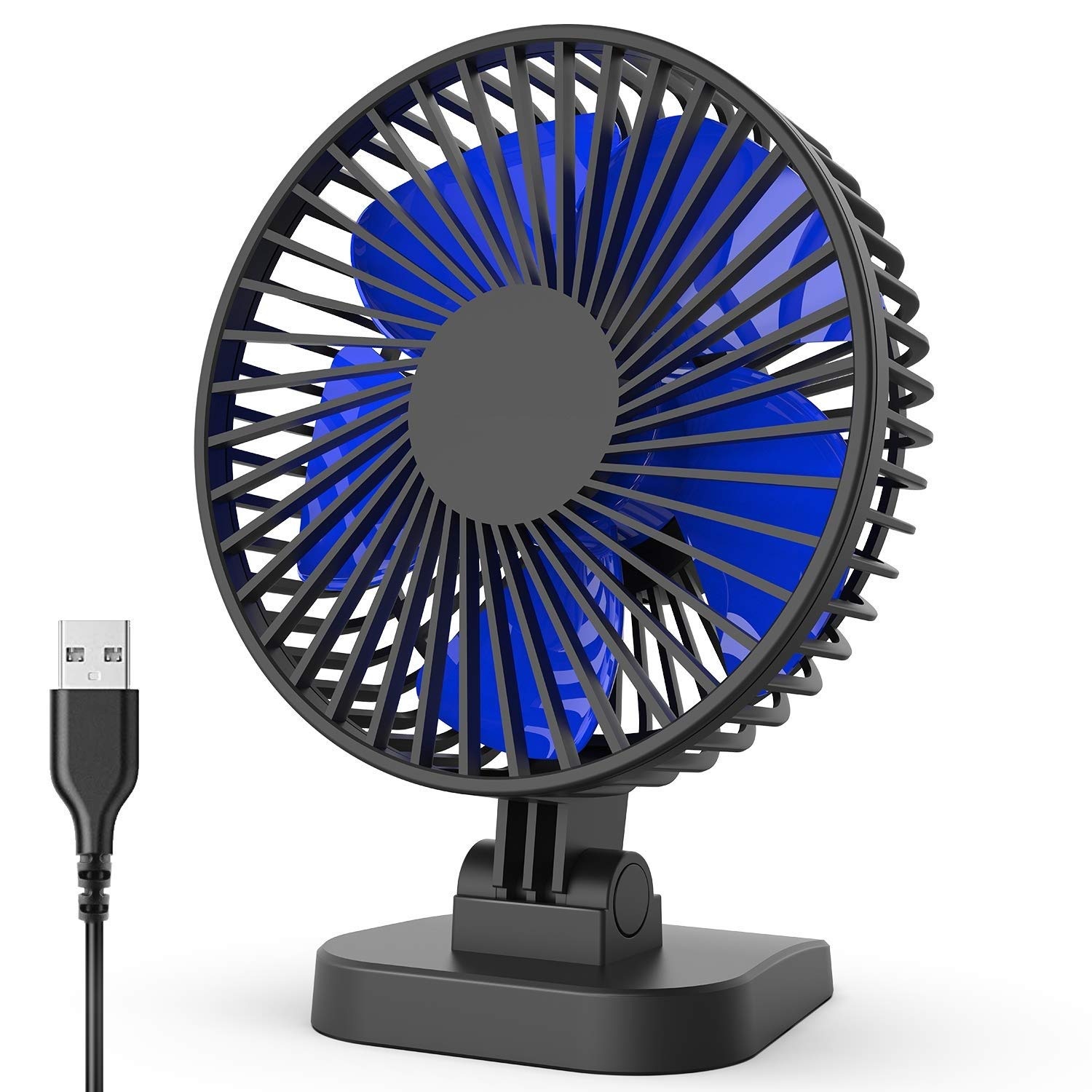 USB Fans for Desk, Super Strong Airflow, 3 Speeds, Whisper Quiet, 40 Adjustable Tilt Angle for Better Cooling, Perfect Portable Personal Fan for Desktop Office Table, 4 inch