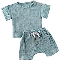 Newborn Infant Baby Girl Boy Summer Clothes Cotton Linen Short Sleeve T-Shirt Tank Tops Shorts Pants 2Pcs Outfits Set