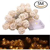 Renashed Rattan Light, 5m/16.5 ft 40 Bulbs 3cm White Rattan Ball String Lights for Battery Powered for Curtain,Patio,Lawn,Landscape,Weddi ng,Holiday,Christmas Tree,Party(Warm White)