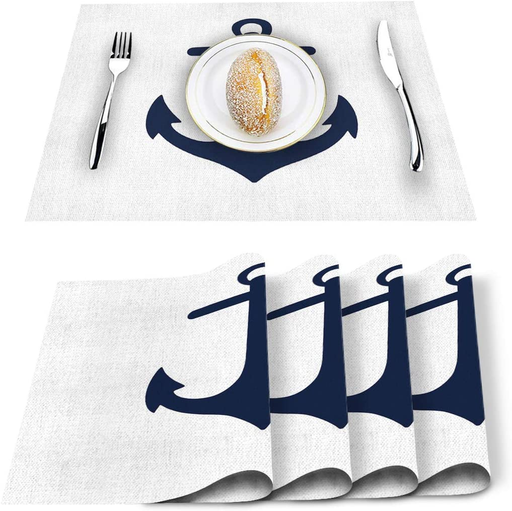 Placemats for Dining Table-Navy Blue Nautical Anchor,Heat Insulation Stain Resistant Placemats Set of 6,Washable Table Mats for Home Kitchen Christmas Wedding Decor