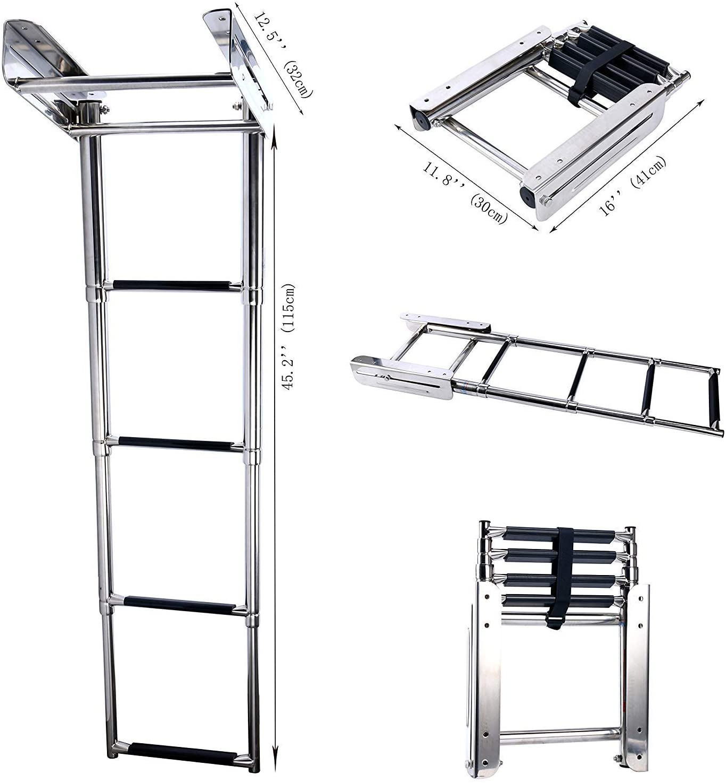 Hoffen - Escalera telescópica de Acero Inoxidable con 4 escalones para Debajo de la Plataforma: Amazon.es: Deportes y aire libre