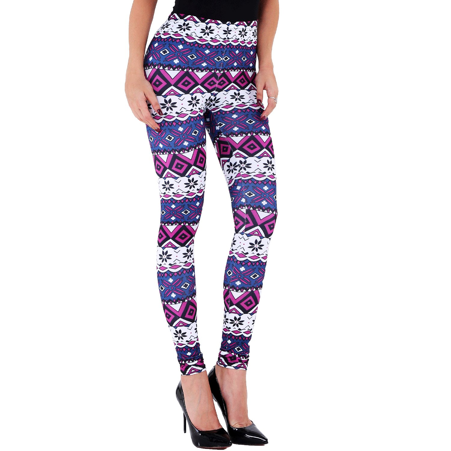 Purple Ensasa Womens Autumn Winter Snowflake Graphic Printed Stretchy Leggings Pants
