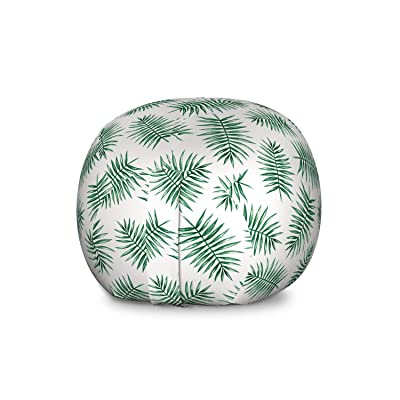 Ambesonne Green Storage Toy Bag Chair, Watercolor Art Style Palm Leaves Tropical Nature Exotic Rainforest Foliage, Stuffed Animal Organizer Washable Bag for Kids, Large Size, Forest Green White: Kitchen & Dining