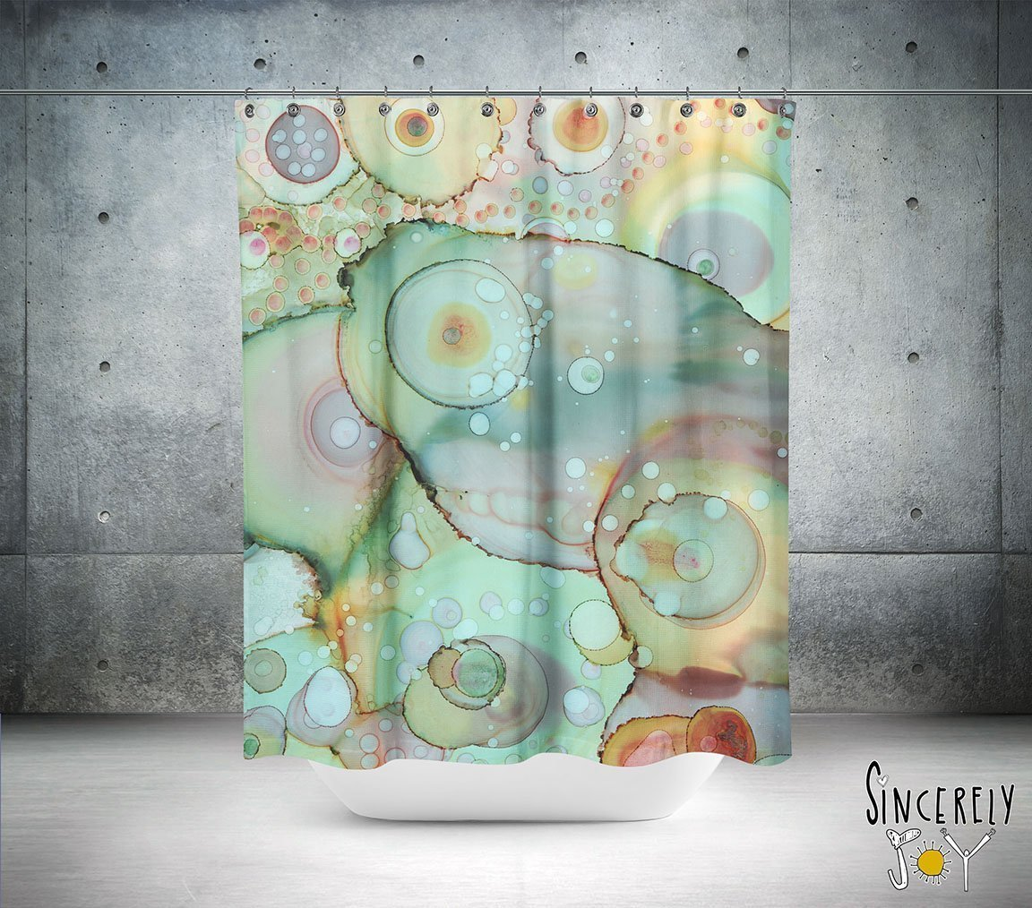 Boho gypsy style bathroom accessories Colorful abstract art shower curtain Artwork by mixed media artist C.Cambrea. Add a matching bath mat