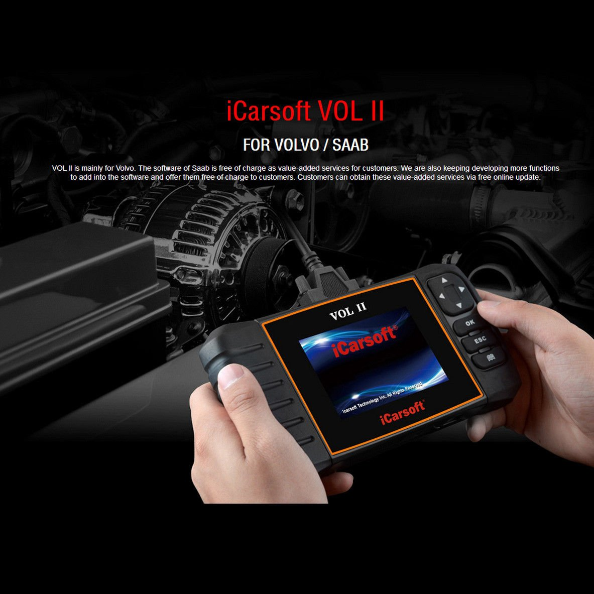 iCarsoft VOL II OBDII diagnostic tool for Volvo Saab multi systems, SRS ABS Engine oil reset, EPB by iCarsoft (Image #1)