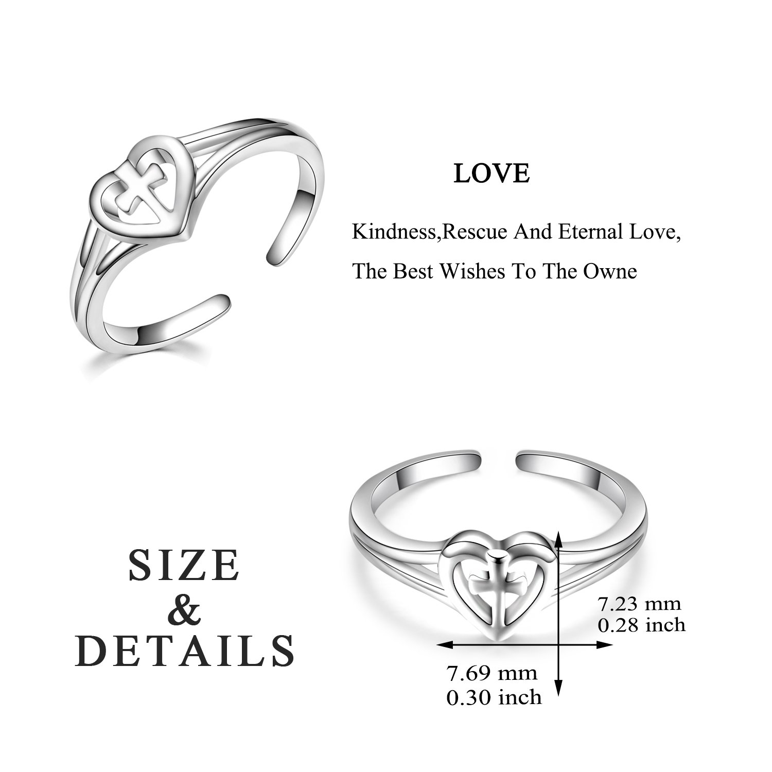 Sterling Silver Love Cross Rings Adjustable Open Polished Christian Heart Promise Anniversary Rings for Her, Size 7 by LUHE (Image #3)