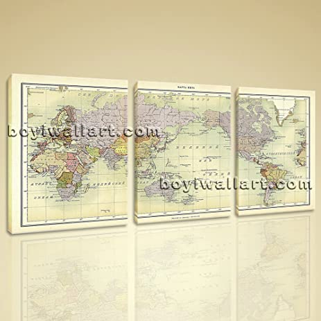 Amazon oversized world map global atlas hd print on canvas oversized world map global atlas hd print on canvas modern wall art home decor 3 panels gumiabroncs Gallery