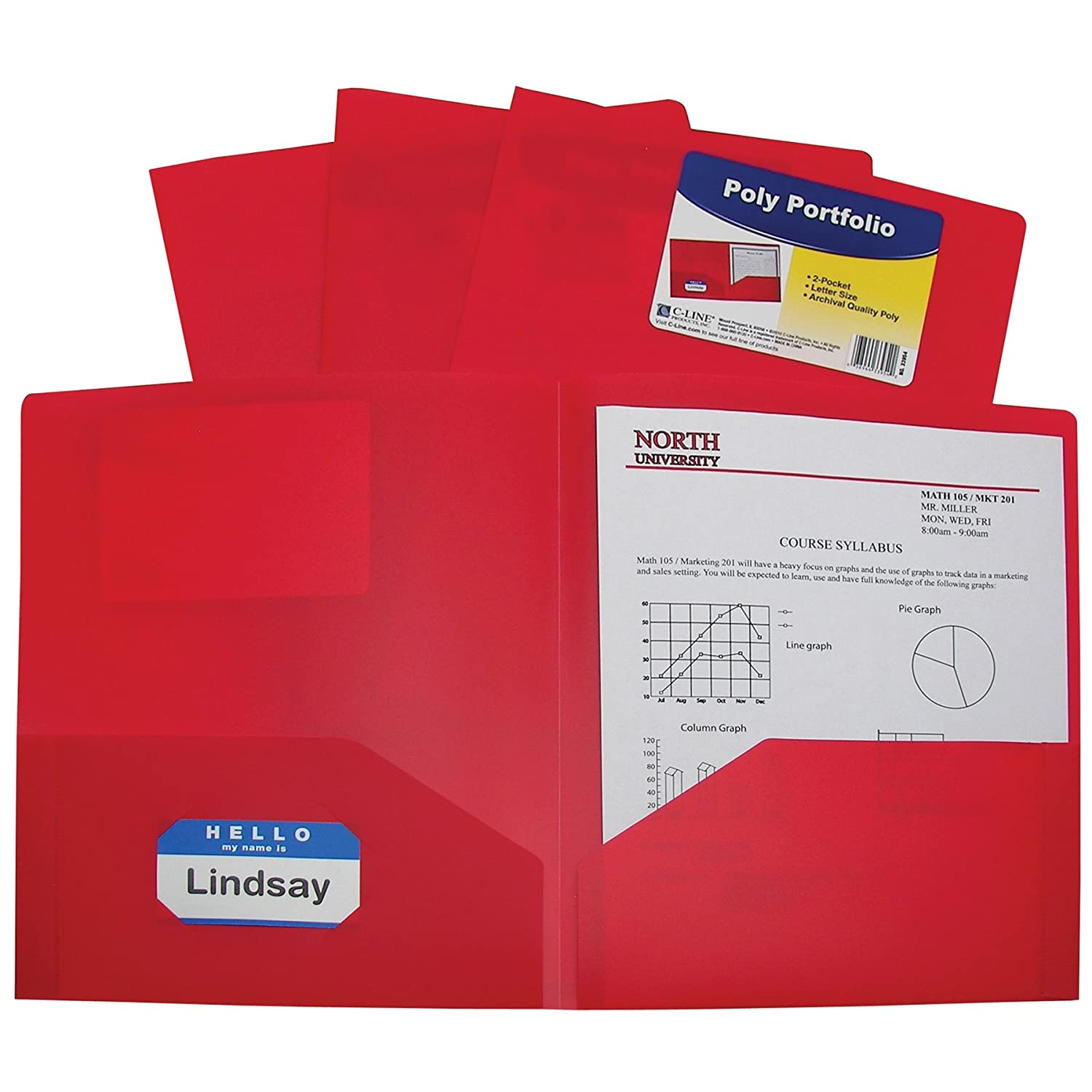 C-Line Two-Pocket Heavyweight Poly Portfolio, For Letter Size Papers, Includes Business Card Slot, Black, 25-Pack (33951) C-Line Products Inc. 33951-25