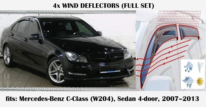 Mrp Set Of 4 Wind Deflectors Compatible with MERCEDES BENZ C CLASS W204 W204 4 doors Sedan//Saloon C CLASS 2007 2008 2009 2010 2011 2012 2013 Acrylic Glass Side Visors PMMA