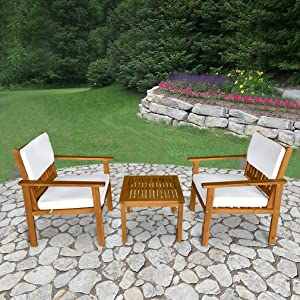 FDW 3-Piece Acacia Wood Patio Bistro Set Outdoor Chat Conversation Table Chair Set with Water Resistant Cushions and Coffee Table Chairs for Beach Backyard Balcony Garden, Natural