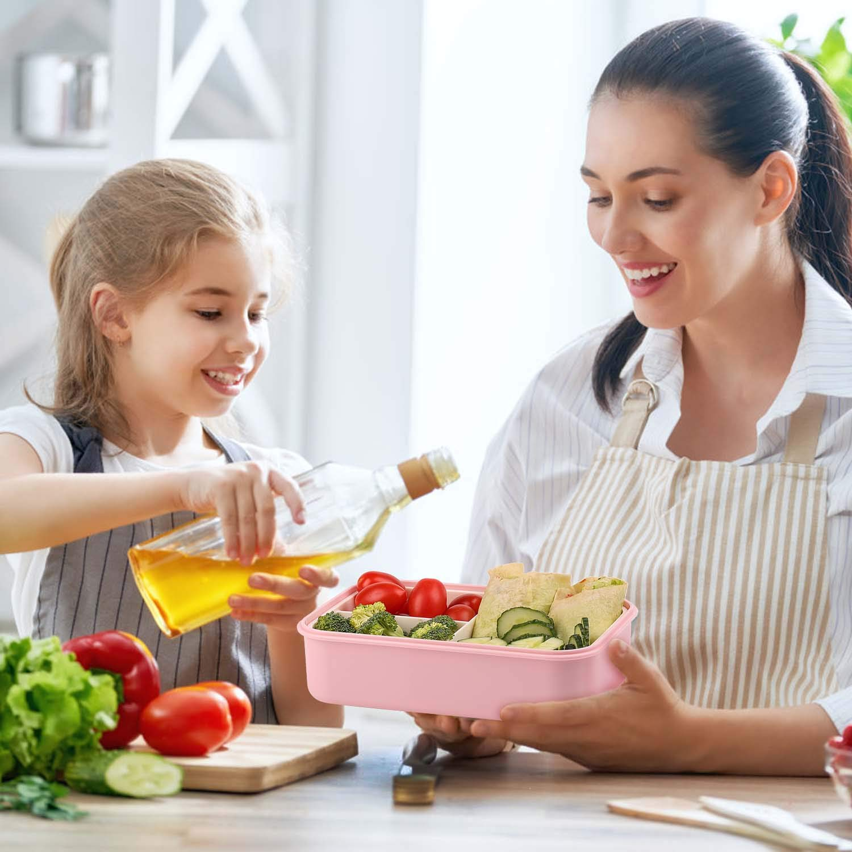 KATELUO Bento Lunch Box per Adulti Bambini 1400ml Contenitore per Il Pranzo Pranzo con 3 Scomparti e Posate pu/ò Essere Usato per Microonde e Frigo Lavastoviglie Verde 1 Forchetta e 1 Cucchiaio
