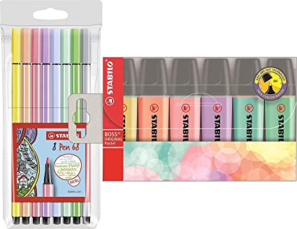 Stabilo Boss – Subrayadores originales de color pastel – varios colores, Fasermaler + Marker (pastel), 1: Amazon.es: Oficina y papelería
