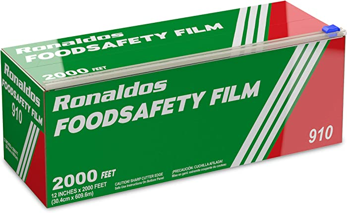 Ronaldos Food Safety Film, 18 inch x 2000ft Plastic Wrap, Commercial Grade, Great for Sealing and Storage, Used for Food Service Industry, Easy to Use Slide Cutter for Clean Cut Use (1 Box)
