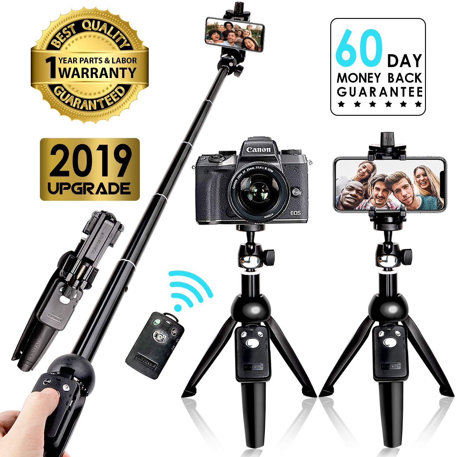 Selfie Stick Tripod Bluetooth, 40 Inch Extendable Flexible Selfie Stick Tripod with Detachable Wireless Remote, Compatible with iPhone Xs Max/XS/XR/iPhone X/iPhone 8 Plus/iPhone 7/iPhone 6 Plus/Galaxy by Yunteng