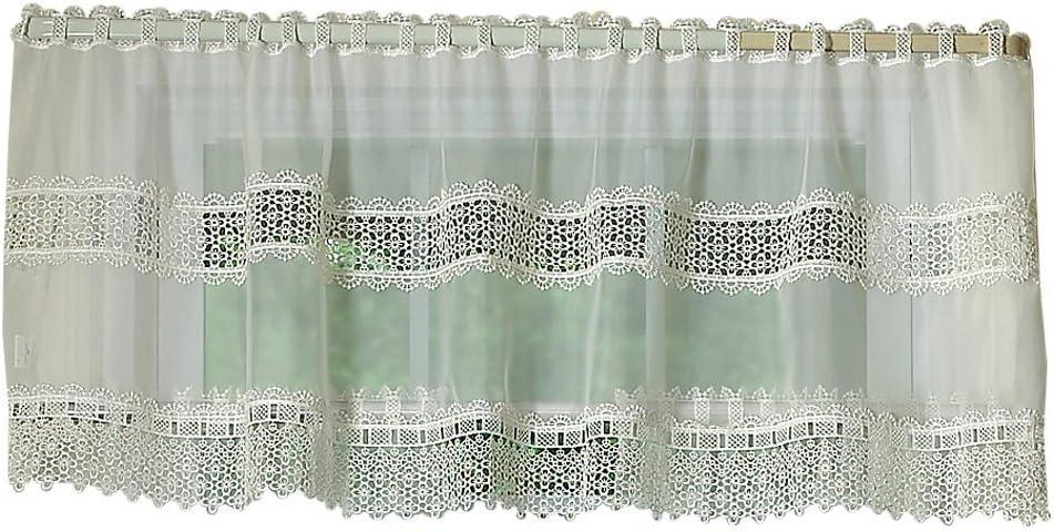 Pillow Shams Victorian Style Battenburg Lace Crochet Cafe Curtain Valance White Cotton Home Garden