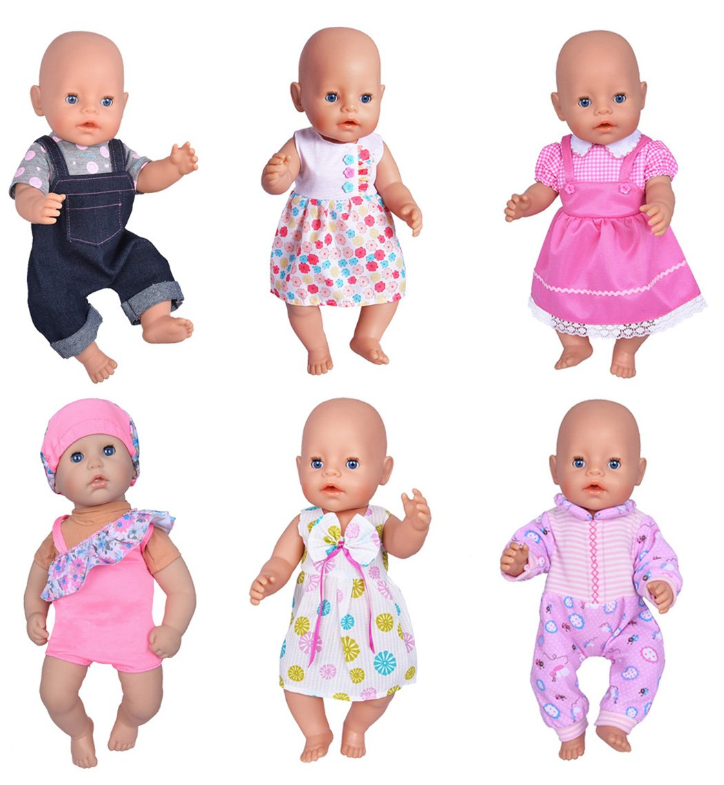 6cf0ca8fcb1 Amazon.com  ebuddy 6 Sets Doll Clothes Outfits for 14 to 16 Inch New Born Baby  Dolls and for 18 Inch American Girl  Toys   Games