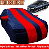 Autofact Car Body Cover for Honda City Idtech (2014 to 2018) (Mirror Pocket, Premium Fabric, Triple Stiched, Fully Elastic, Red/Blue Color)