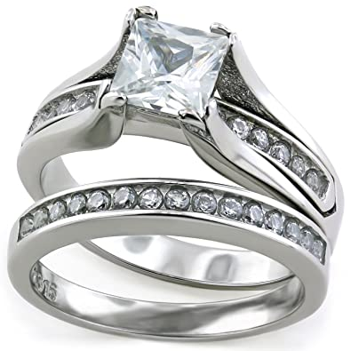 Princess Cut 1 Carat CZ Wedding Ring Sets