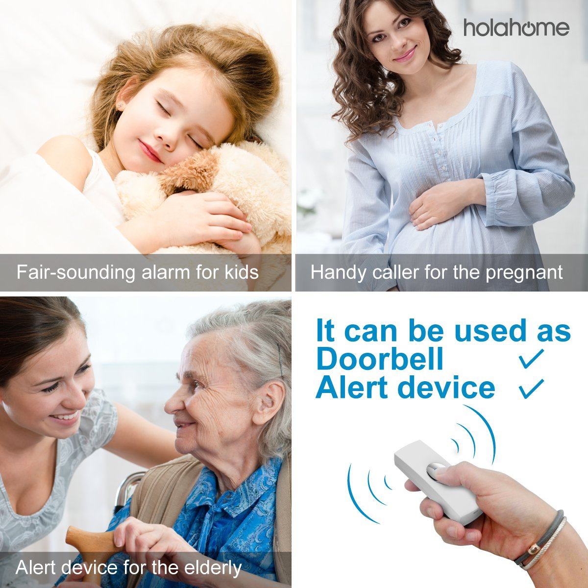 Holahome Wireless Doorbell - Waterproof Portable Door Bell Chime Kit Push Button with 2 Portable Receivers 32 Melodies Wireless Door Alarm Chime Long Range Battery Operated for Home Office White by holahome (Image #3)