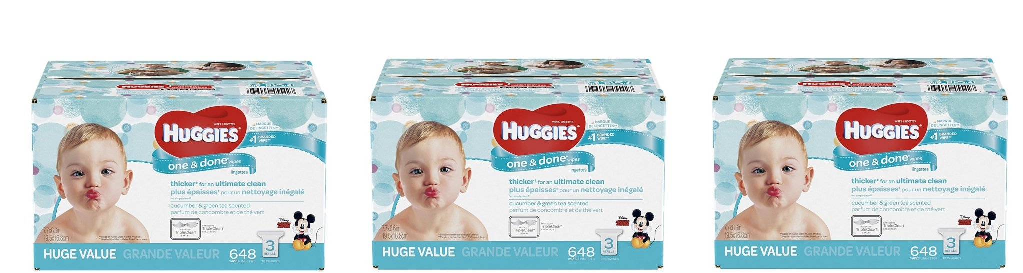HUGGIES One and Done Refreshing Baby Wipes, Refill Pack (9-Pack, 1944 Sheets Total), Scented, Alcohol-free QIWYHK, Hypoallergenic