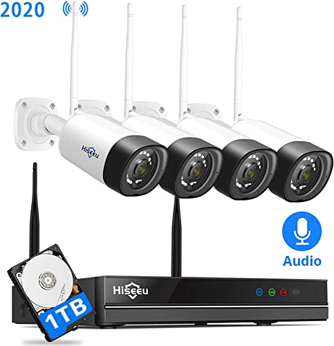 8Channel,Audio Hiseeu Wireless Security Camera System,1TB Hard Drive,4Pcs 1080P Cameras 8Channel NVR,Mobile PC Remote,Outdoor IP66 Waterproof,Night Vision,Motion Alert,Plug Play,7 24 Motion Record