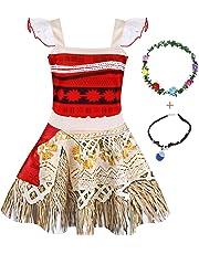 AmzBarley Princess Moana Dress Little Girls Lace Sleeveless Costume Cosplay Outfit