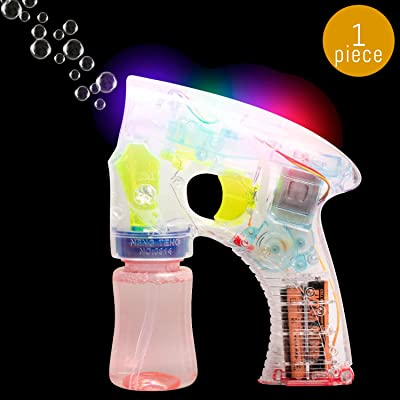 Lumistick Light-Up Bubble Blaster Gun | Transparent Glowing LED Blower Machine | Ultra Bright Glinting Air Bubbles Wand | Gleaming Summer Games Toy (1 Gun): Toys & Games