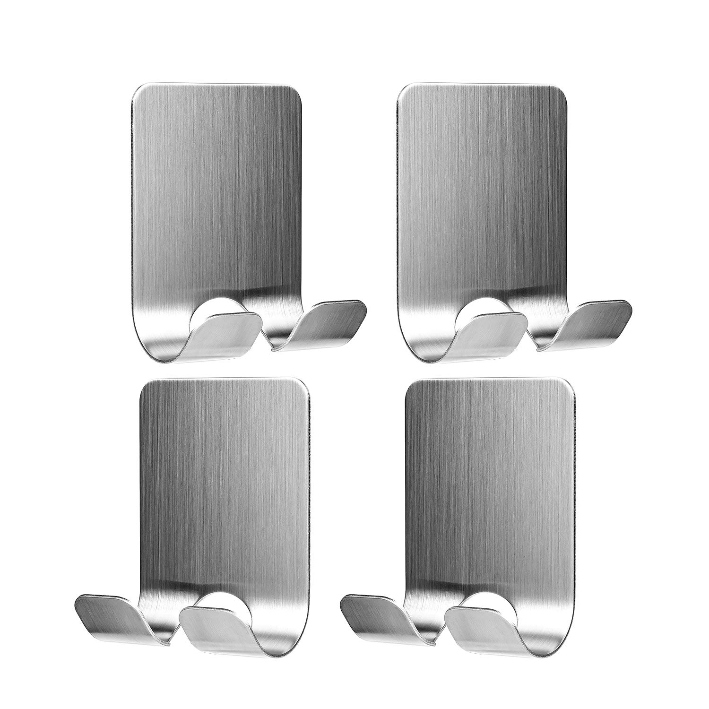 Hifot Multi Purpose Self Adhesive Hooks 4pcs, Stainless Steel Sticking Hooks, Razor Holder Plug Hooks Wall Hanger for Bathroom Bedroom Kitchen Parlor