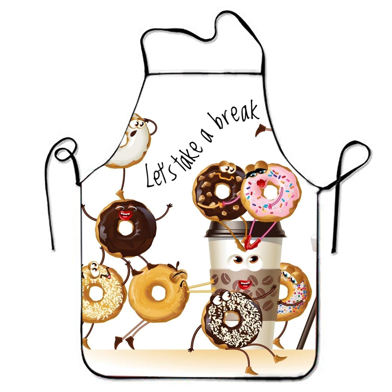 Let 's Take A Break Donutsコーヒーキッチンエプロン女性と男性用調節可能なネックストラップレストランホームシェフのよだれかけエプロン料理BBQグリル   B07FX417VK