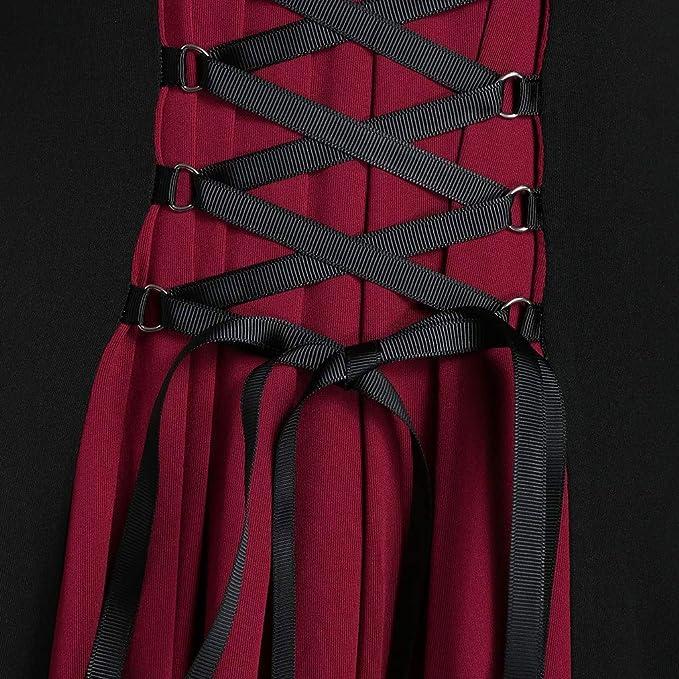 Damska Vintage Retro Mesh-Nähte Kontrastfarbe Trompete Ärmel Langes Formelles Kleid Abend Party Swing Kleid: Odzież