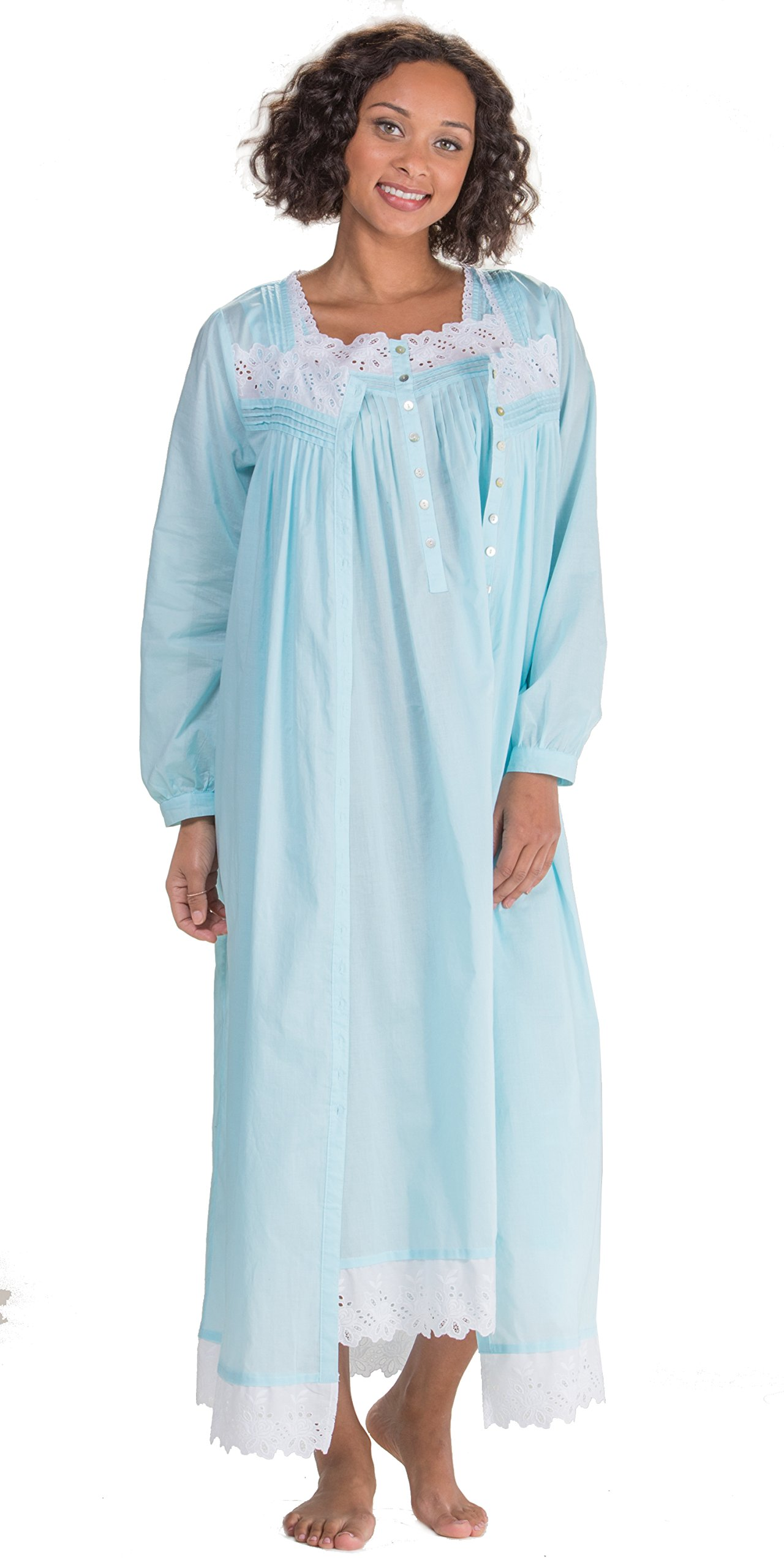Eileen West Cotton Lawn Sleeveless Gown & Robe Peignoir Set - Ethereal Sea (Solid Turquoise, Medium)