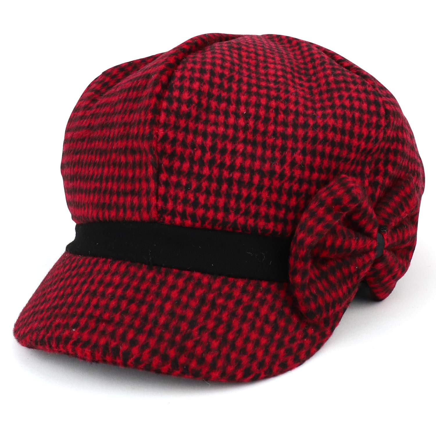 Armycrew Women's Houndstooth Pattern Newsboy Cap with Side Bow - Red