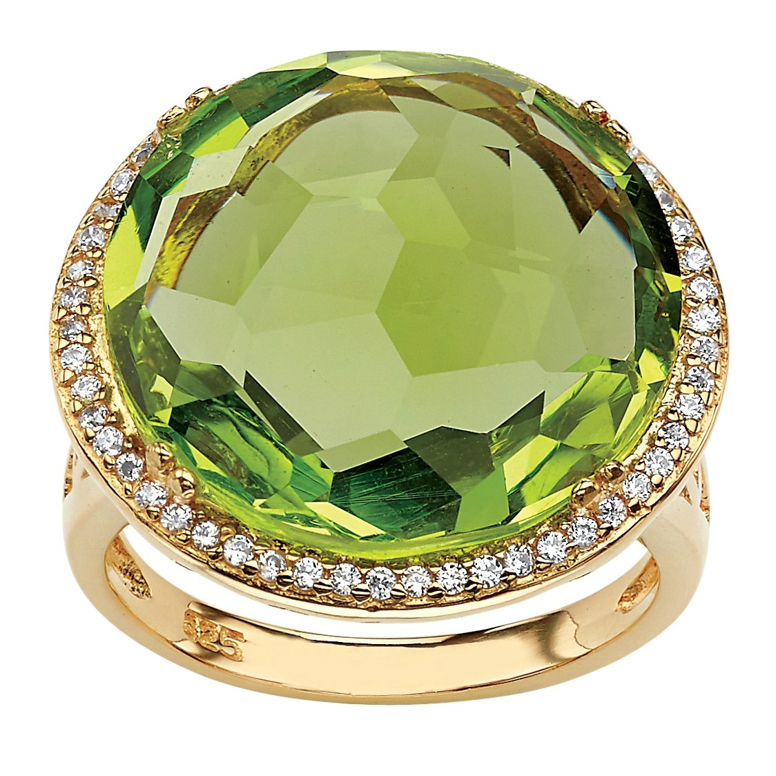 Seta Jewelry Checkerboard-Cut Simulated Peridot and CZ 14k Gold-Plated Halo Cocktail Ring