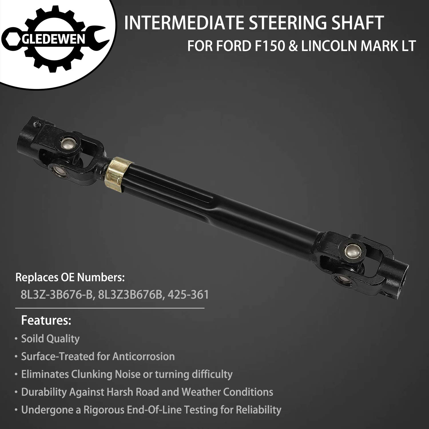 Replaces# 8L3Z-3B676-B Steering Column Lower Intermediate Steering Shaft with Rag-Joint Universal U-Joint Coupler 2006-2008 Lincoln Mark LT 8L3Z3B676B 425-361 for 2004-2008 Ford F-150