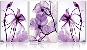 Canvas Wall Art Home Decor Wall Art Painting Purple Flowers Art Wood Inside Framed 3 Panel Wall Art for living room Ready to Hang