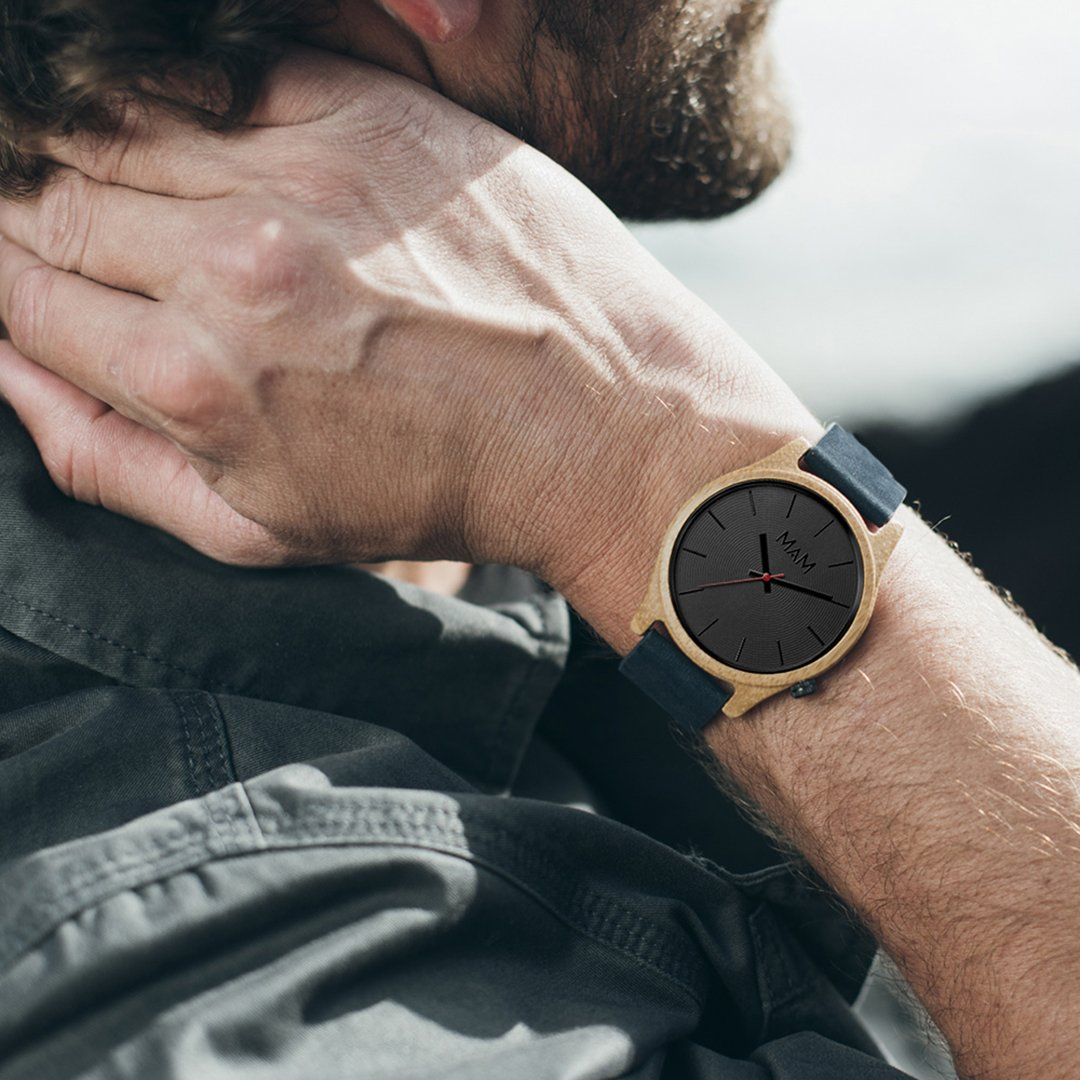 Amazon.com: MAM Originals · Quail Blue   Mens Watch   Minimalist and Elegant Design   Watch Made from sustainably sourced Bamboo   Superior Quality at an ...