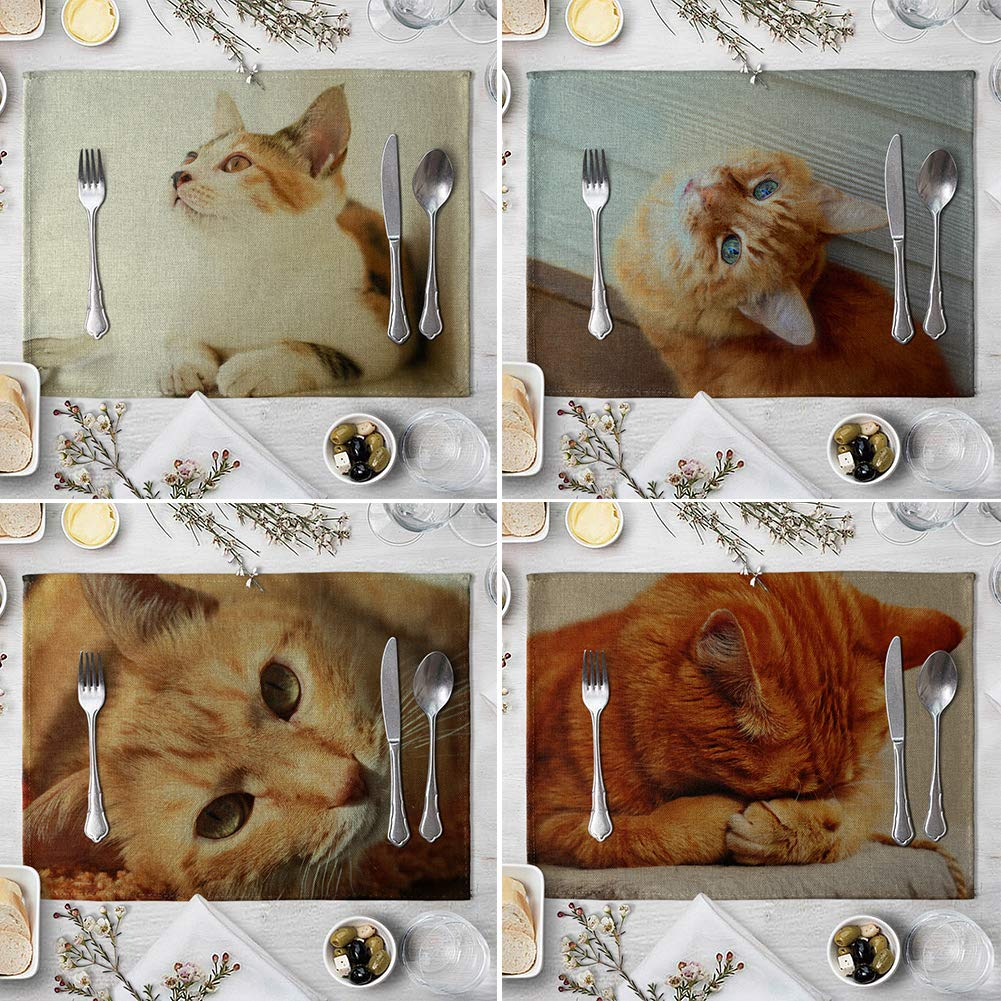 memorytime Cute 3D Cat Print Placemat Pad Linen Dining Table Insulation Mat Home Decor Kitchen Dining Supplies - 6# by memorytime (Image #6)