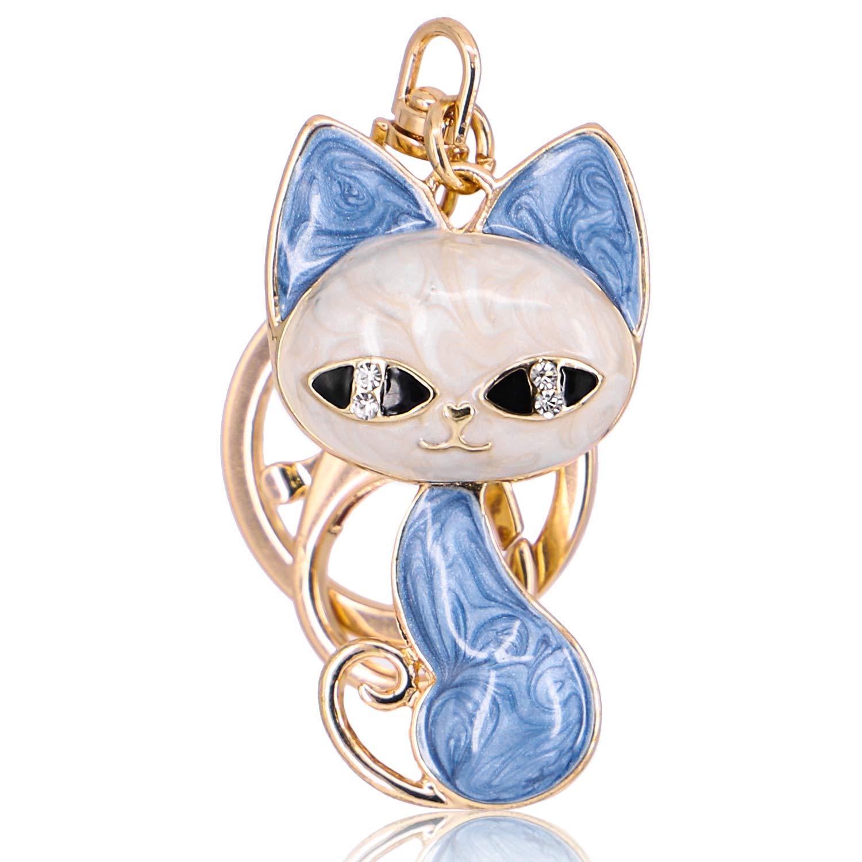 QTKJ Cute Fashion Fox Diamond Crystal Rhinestone Keychain Charm Handbag Bag Pendent Key Ring