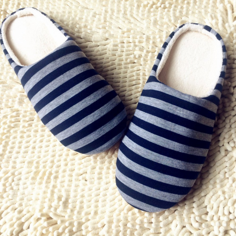 Norbi Unisex Home Indoor Washable Comfort Stripe Anti-Slip Slippers Shoes