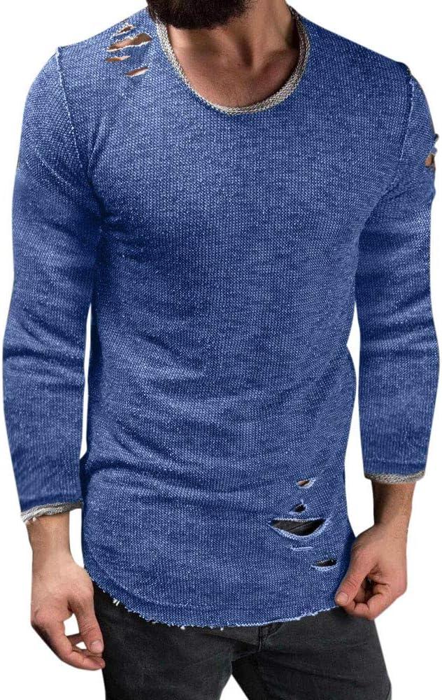 Overdose Nueva Camisa De Los Hombres 2018 Mejor Venta Slim Fit O Cuello Camiseta Manga Larga Camiseta Camiseta Rasgada Casual Tops Blusa: Amazon.es: Ropa y accesorios