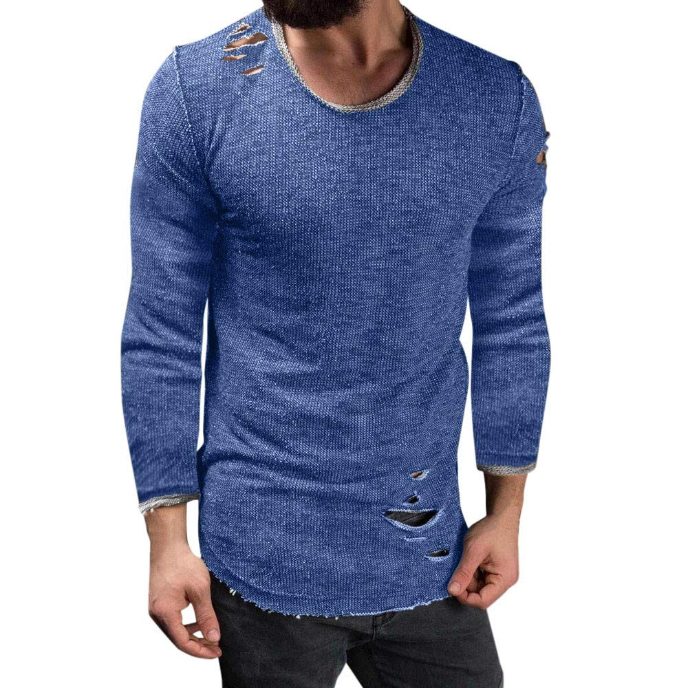 Mens Long Sleeve Blouse, Balakie Solid Slim Fit O Neck Muscle T-Shirt Hole Tops(Blue,L)