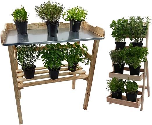 DILUMA Set Mesa De Jardín para Macetas De Flores 82 x 78 x 38cm Y Escalera para Flores 66cm, Madera FSC®, Color:Natural: Amazon.es: Hogar