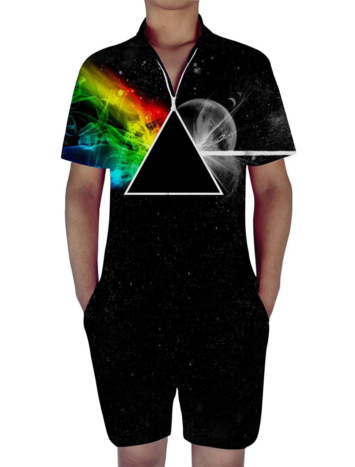 RAISEVERN Mens 3d Graphic Printed Personalized Short Sleeve Jumpsuit Rompers Playsuit Overalls One Piece Slim Fit