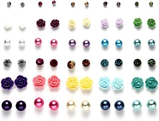 OAONNEA 30 Pares Color Mezclado Pelota Pendientes Perlas Flor ...