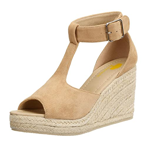 4baddc8efb4d22 Sandales Bout Ouvert Femme Bride Cheville avec Boucle Espadrilles Faux  Suede Chaussures Compensées Beige 34 EU
