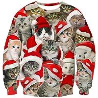Goodstoworld Unisex 3D Christmas Pullover Sweatshirt Funny Xmas Animal Elf Printed Long Sleeve T-Shirt S-XXL
