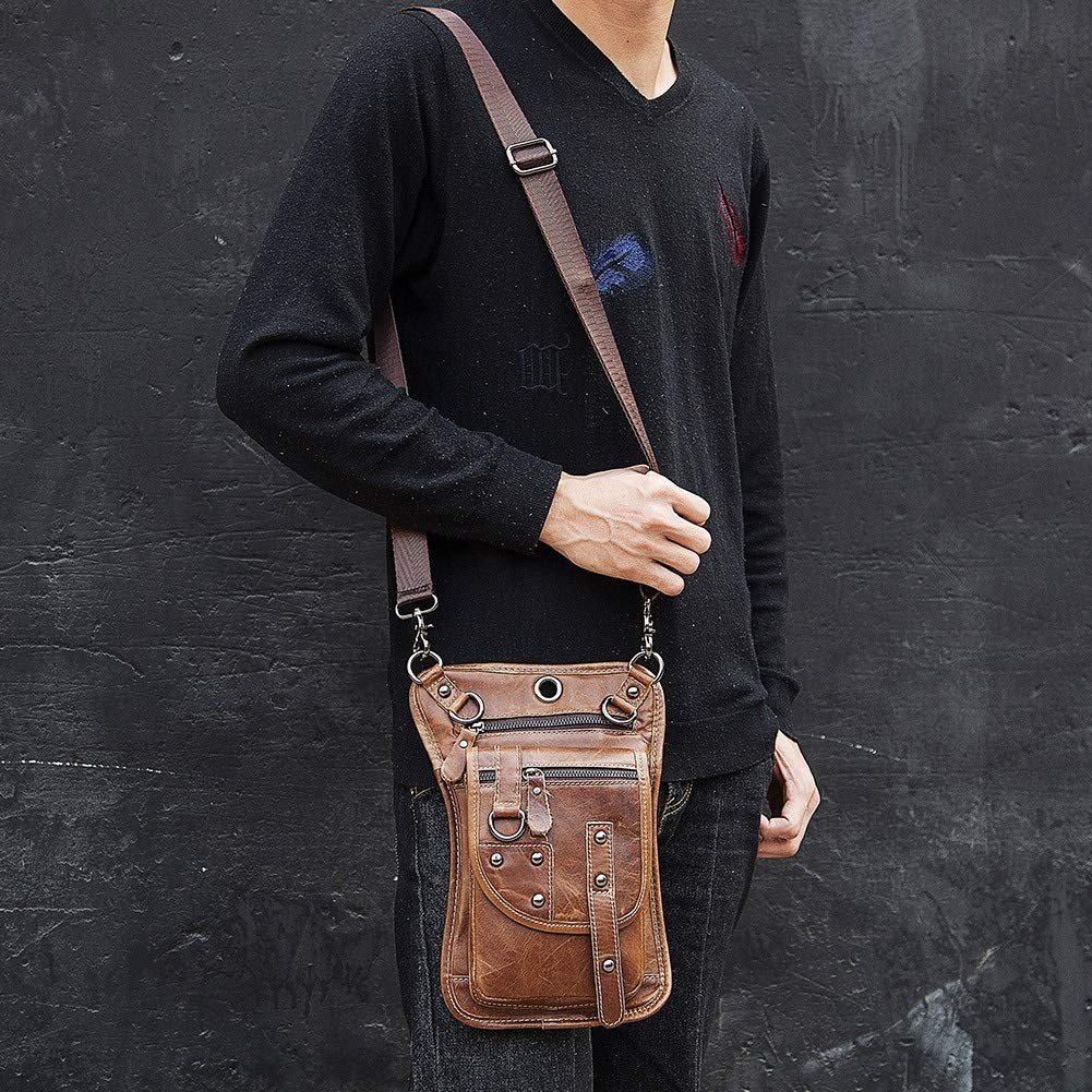 16737191171c Amazon.com: XIAOF-FEN Retro Fashion Leather Men's Fanny Pack Wear ...